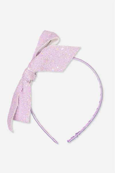 Glitter Bow Headband, ORCHID