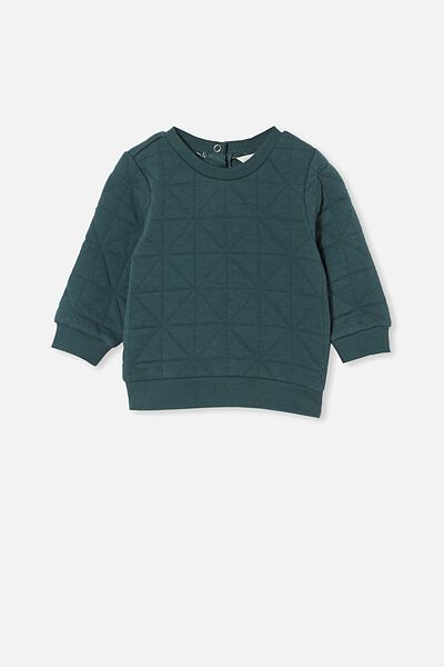 Greer Quilted Sweater, PETROL TEAL