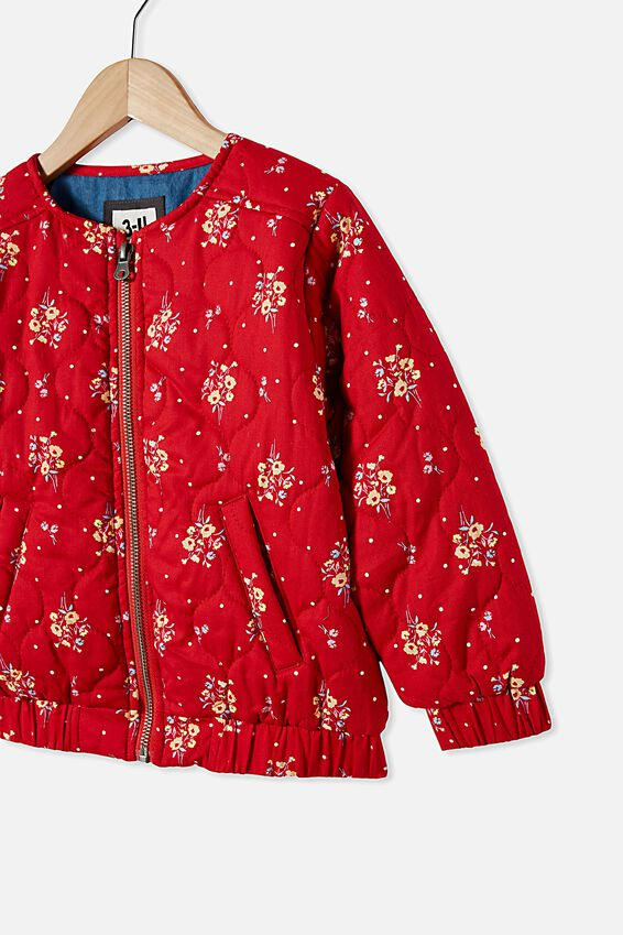 Ellie Woven Quilted Jacket, LUCKY RED/POSEY FLORAL