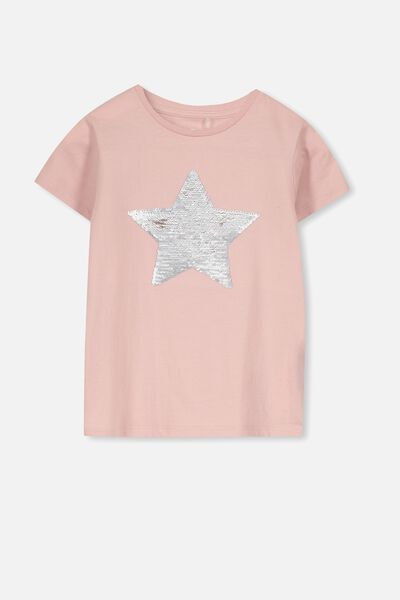 Stevie Ss Embellished Tee, SILVER PINK/ REVERSE SEQUIN STAR