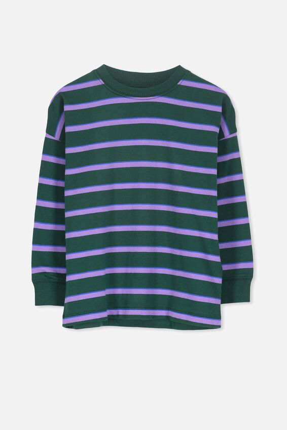 Tom Loose Fit Tee, BX/SCOUT GREEN PURPLE STRIPE