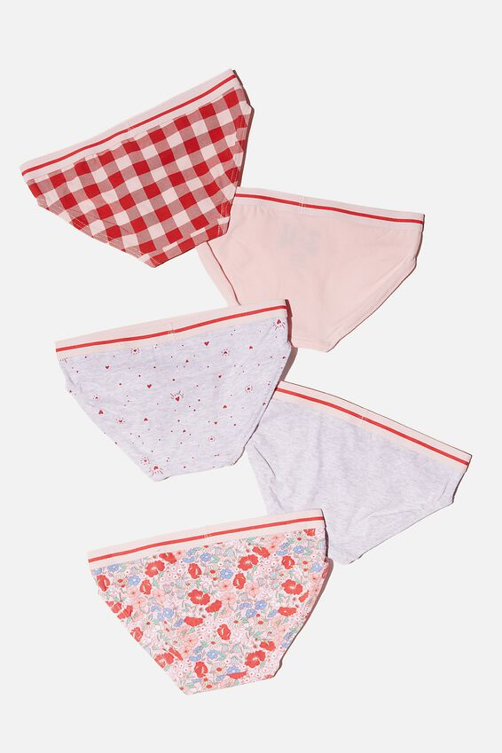 Girls 5 Pack Underwear, FLORAL HEARTS