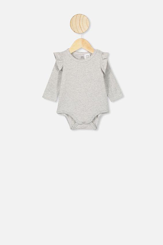 Long Sleeve Ruffle Bubbysuit, CLOUD MARLE