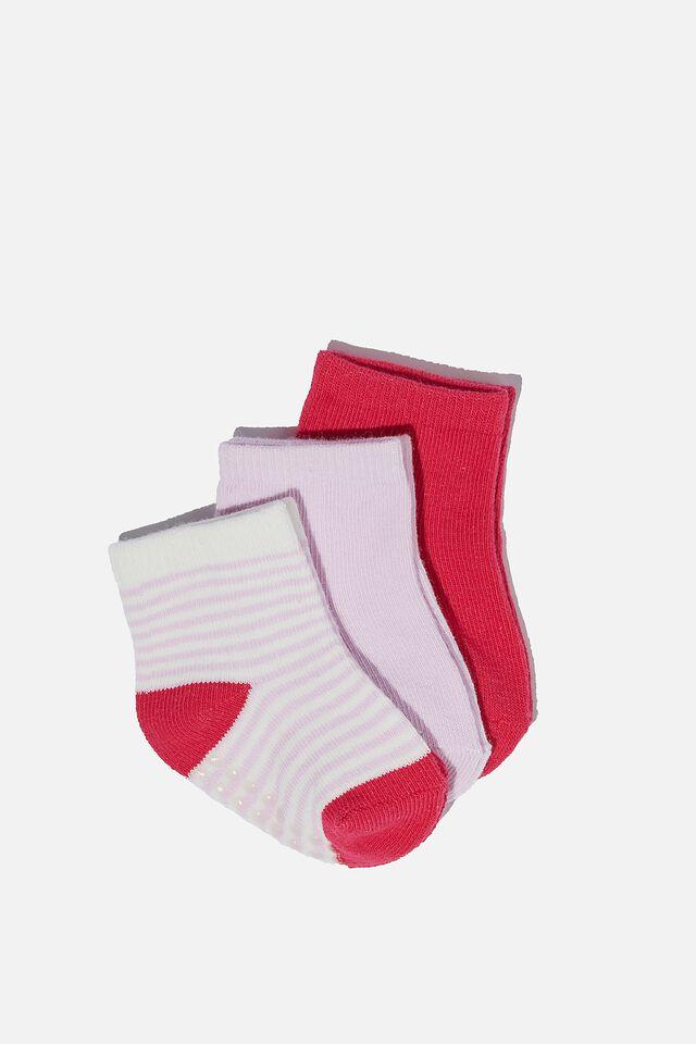 3Pk Baby Socks, PALE VIOLET/FUSCHIA POP STRIPE