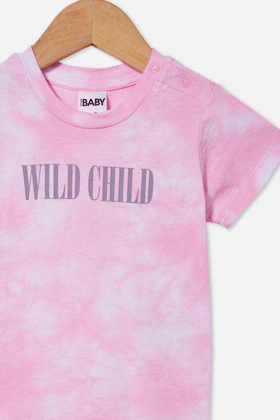 Jamie Short Sleeve Tee, CALI PINK TIE DYE/WILD CHILD