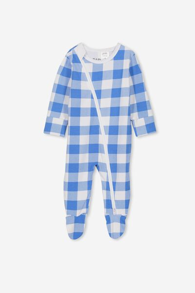 Mini Zip Through Romper, WATER RACEWAY/WHITE BUFFALO CHECK