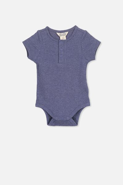 The Short Sleeve Button Bubbysuit, INDIAN INK MARLE
