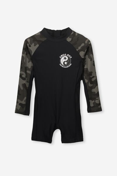 3cc82c455 Oscar Ls All In One Swimsuit, VINTAGE BLACK/CAMO. Cotton On Kids. Oscar Ls  All In One Swimsuit