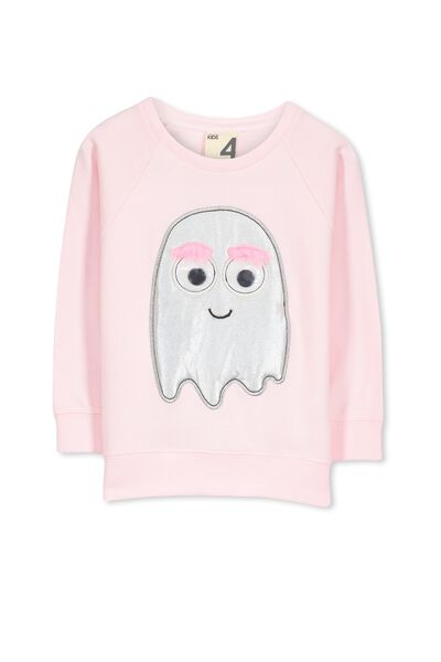 Stephanie Batwing Sweater, PASTEL PINK/FURRY MONSTER