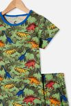 Hudson Short Sleeve Pyjama Set, COLOURFUL DINOSAUR SPEARMINT