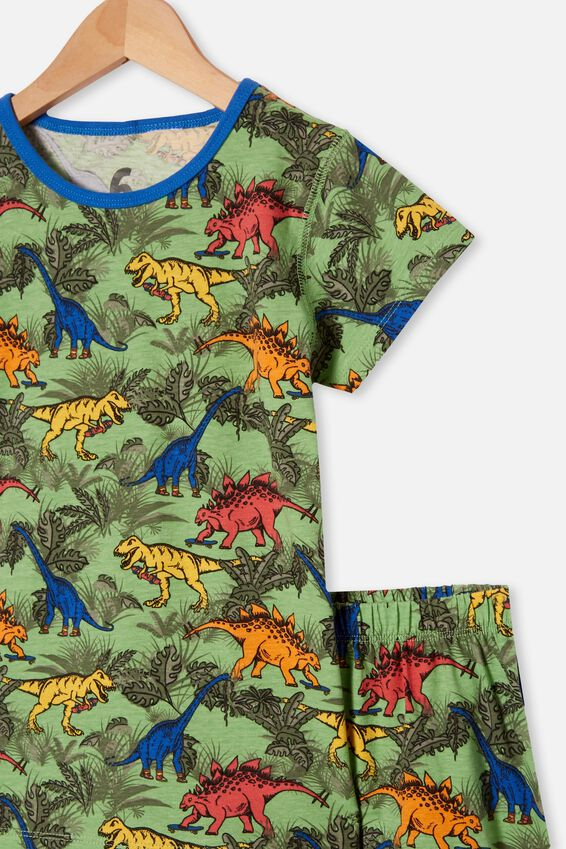 Hudson Short Sleeve Pyjama Set, COLOURFUL DINOSAUR SPEARMINT