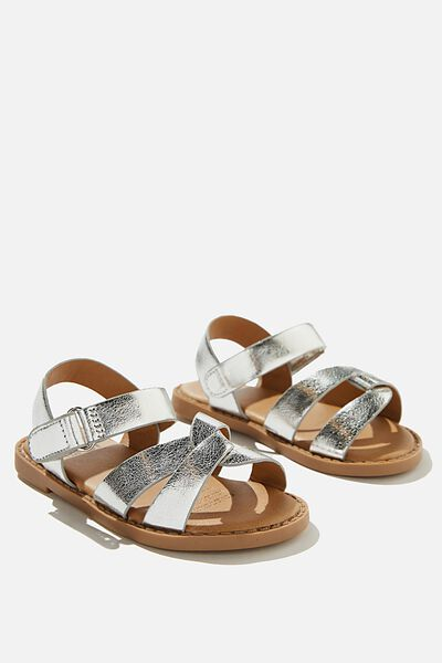 Mini Fisherman Weave Sandal, METALLIC SILVER
