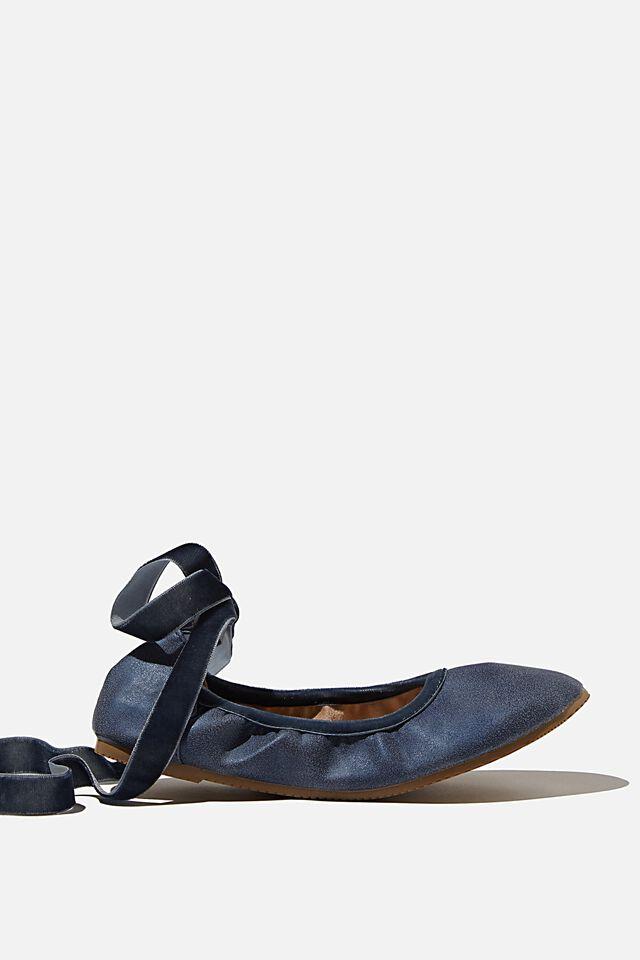 Primo Ballet Flat, NAVY VELVET RIBBON