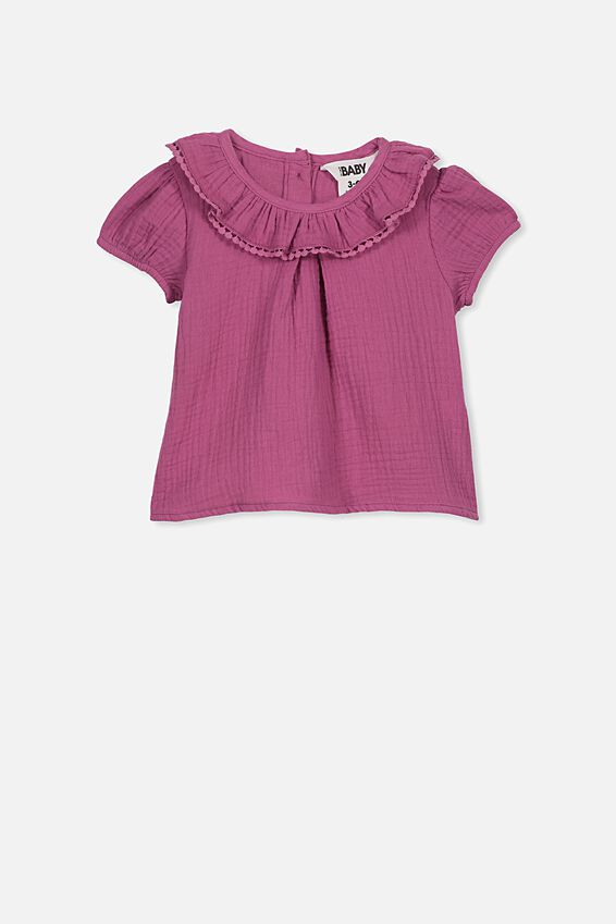 Halle Short Sleeve Ruffle Top, LOGANBERRY