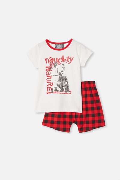 Hudson Short Sleeve Pyjama Set, LCN MT NAUGHTY BY NATURE VANILLA