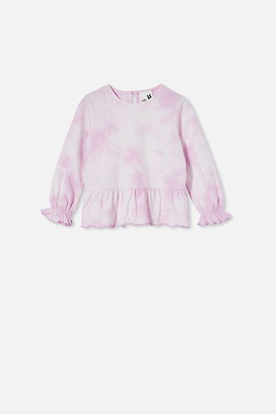 Bridget Long Sleeve Frill Top, PALE VIOLET/TIE DYE