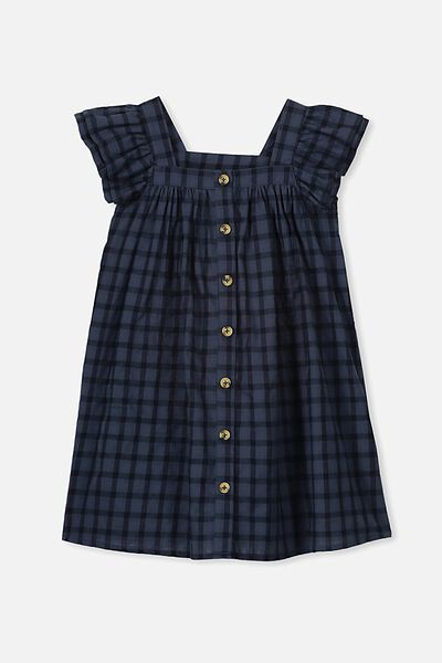 Polly Placket Dress, NAVY CHECK