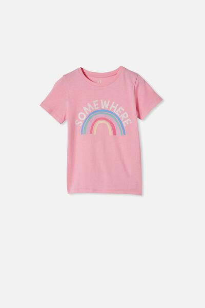 Penelope Short Sleeve Tee, CALI PINK/SOMEWHERE RAINBOW