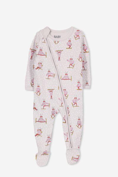 Sleep Mini Zip All In One Jumpsuit, WINDCHIME/BUNNY