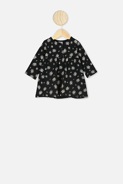 Molly Long Sleeve Dress, BLACK/OLIVIA WHITE FLORAL