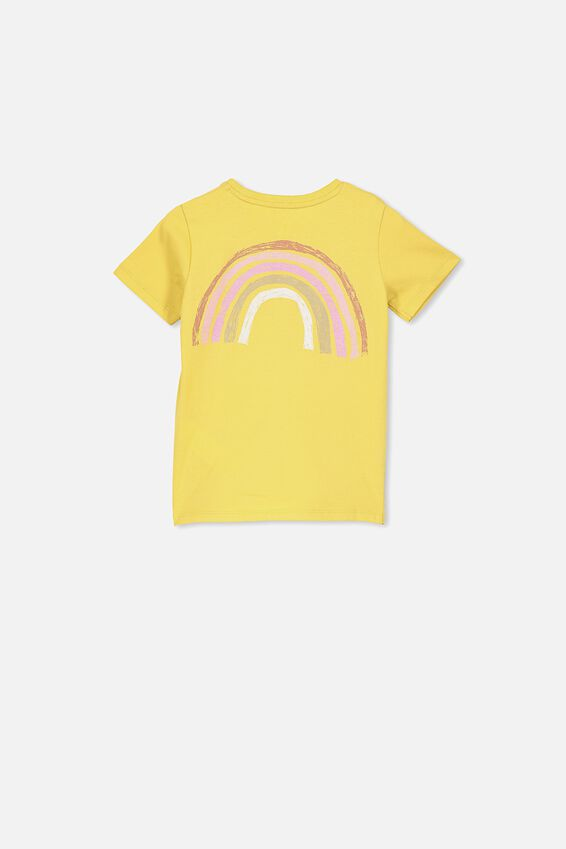 Penelope Short Sleeve Tee, CORN SILK/RAINBOW FRONT AND BACK/MAX