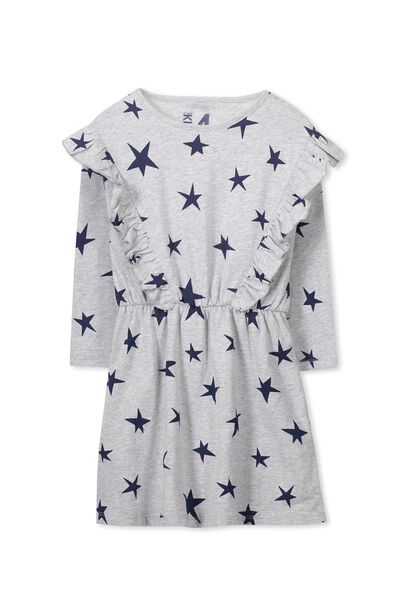 Amy Long Sleeve Dress, LIGHT GREY MARLE/STARS
