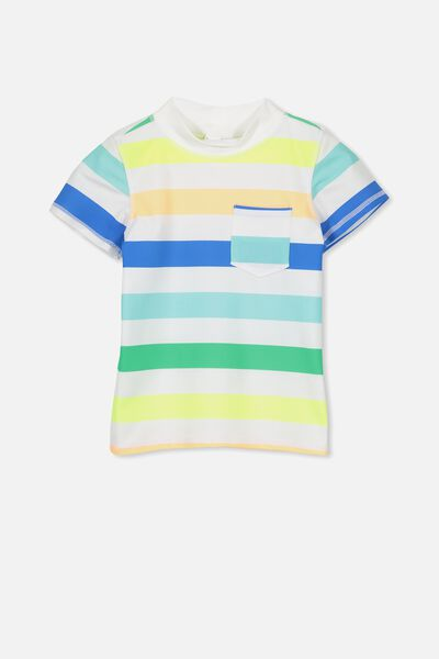Finley Short Sleeve Rash Vest, TROPICAL STRIPES