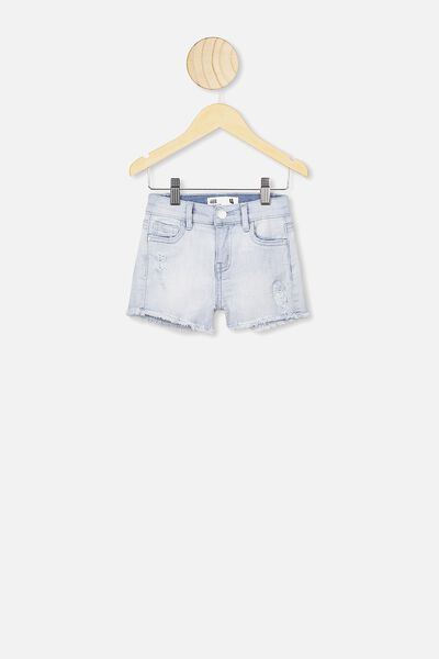Cleo Raw Edge Denim Short, BLEACH WASH