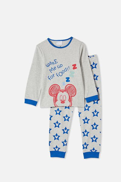 Orlando Long Sleeve Pyjama Set Licensed, LCN DIS MICKEY FOOD / SUMMER GREY MARLE