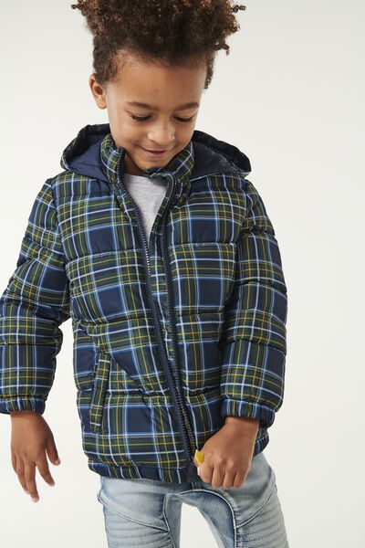 Frankie Puffer Jacket, NAVY/GOLD GLOW CHECK