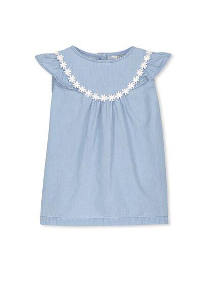Anna Flutter Dress, BLUE CHAMBRAY/FLOWER GARDEN