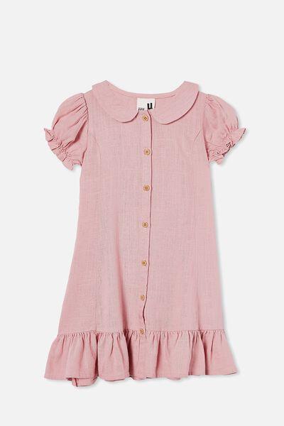 Evelyn Short Sleeve Dress, MARSHMALLOW