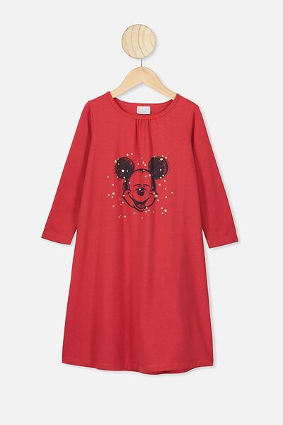 Laura Long Sleeve Long Nightie, LCN DIS LUCKY RED/MICKEY STARS