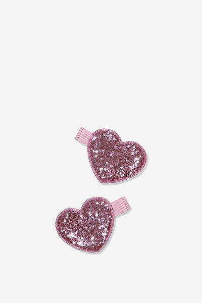 Hair Clips, HEART/PINK GLITTER