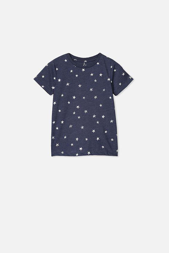 Penelope Short Sleeve Tee, PEACOAT MARLE/FOIL STARS/MAX