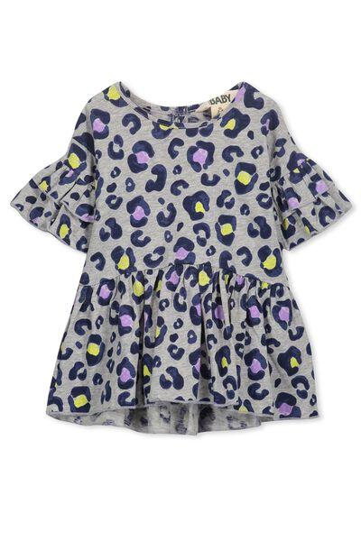 Maddy Ruffle Dress, GREY MARLE/FUN LEOPARD