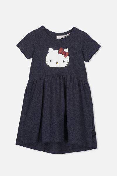 Freya Short Sleeve Dress, LCN SAN INDIAN INK MARLE/HELLO KITTY