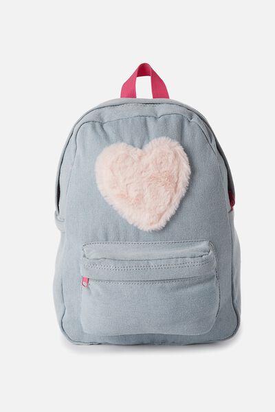 School Backpack, FAUX FUR HEART