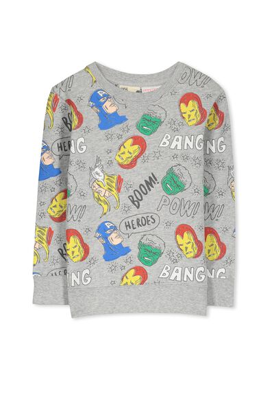 License Sweater, LT GREY MARLE/AVENGERS