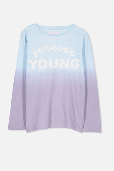 Anna Long Sleeve Tee, DIP DYE/FOREVER YOUNG/SET IN
