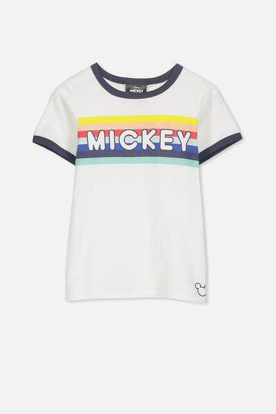 Lux Short Sleeve Tee, MICKEY RAINBOW STRIPE/RINGER