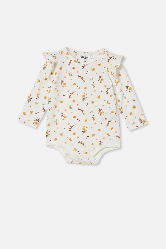 The Long Sleeve Ruffle Bubbysuit, VANILLA/VINTAGE HONEY RACHAEL FLORAL