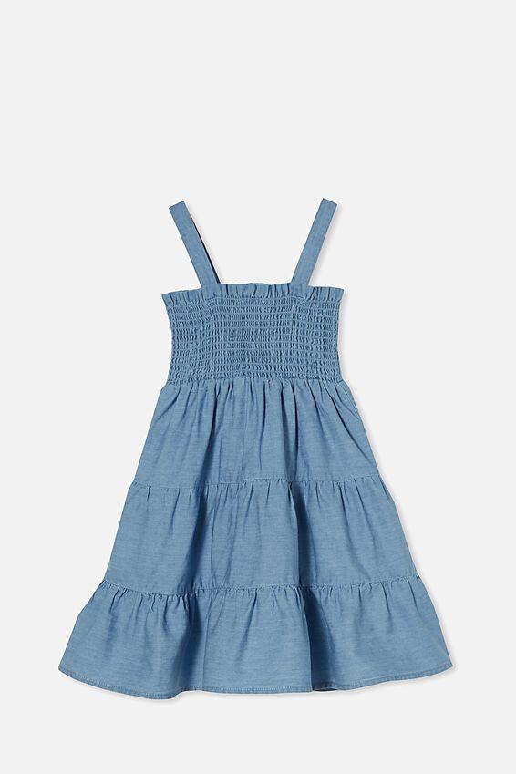 Mae Sleeveless Dress, MID BLUE WASH