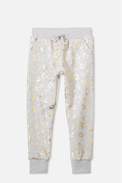 Kikii Trackpant, LT GREY MARLE/FOIL ANIMAL FLORAL