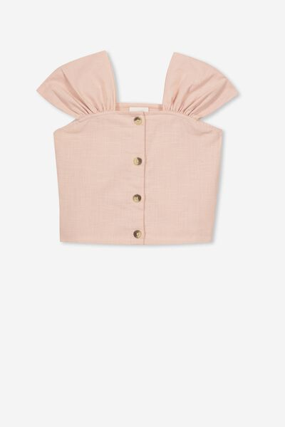 Paloma Ss Button Through Top, CARGO PINK