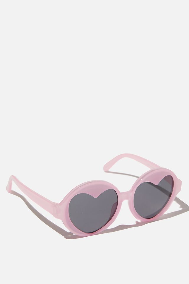 Kids Retro Sunglasses, CALI PINK ROUND HEART