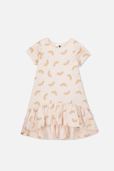 Joss Short Sleeve Dress, BLUSH MARLE/RAINBOWS