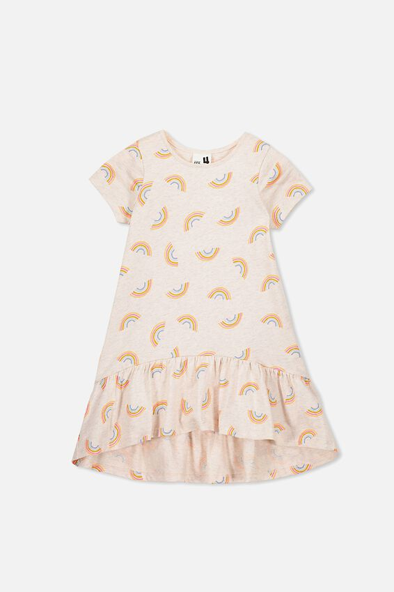 Joss Short Sleeve Dress, BLUSH MARLE/RAINBOWS