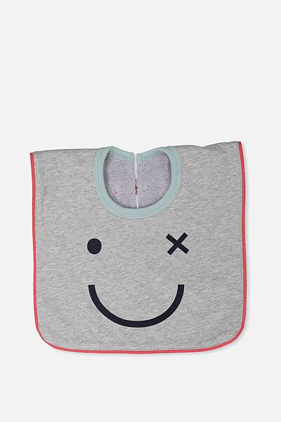 Hansel And Gretel Babies Bib, LIGHT GREY MARLE/HAPPY FACE