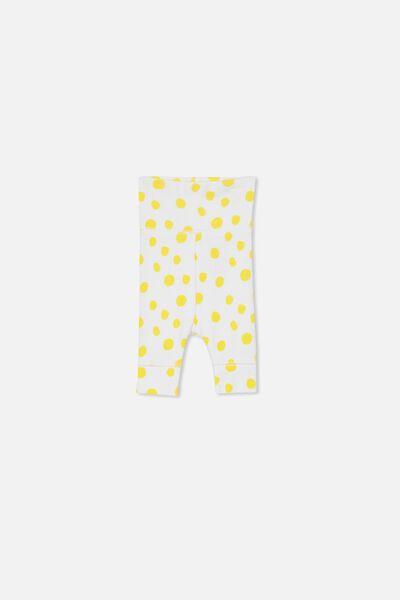 Newborn Essentials Legging, WHITE/SUNSET GOLD SPOT